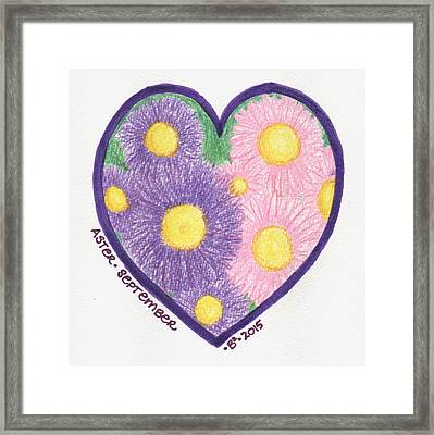 September Aster Heartgarden Framed Print by Barbara Bellissimo