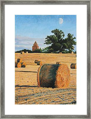 September Corn Moonrise Framed Print by Adrian Jones