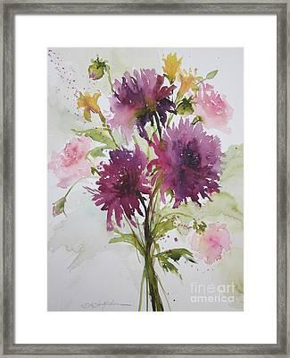 September Dahlias Framed Print by Sandra Strohschein
