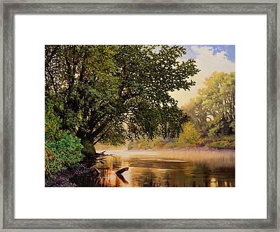 September Dawn, Little Sioux River - Studio Painting Framed Print