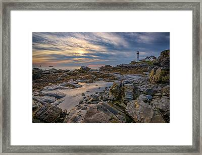 September Morn At Portland Head Framed Print by Rick Berk