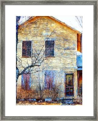 Framed Print featuring the photograph September's Gone - Yellow Farmhouse Windows by Janine Riley