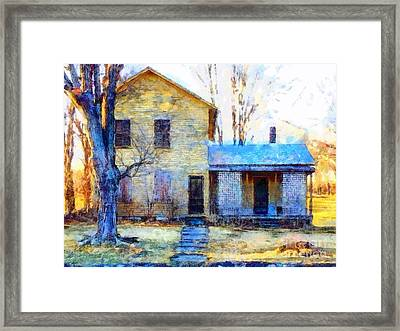 Framed Print featuring the photograph September's Song - Yellow Farmhouse  by Janine Riley