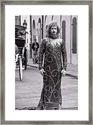 Sequined Mime In Black And White Framed Print by Kathleen K Parker