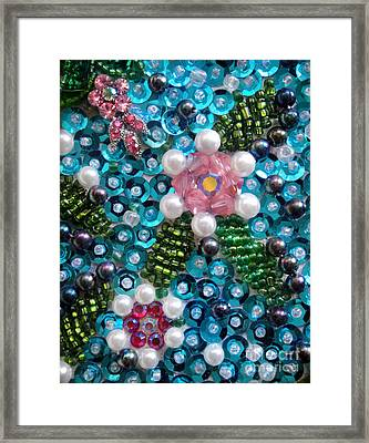 Sequis And Bead Embroidery. Spring Flowers Framed Print by Sofia Metal Queen