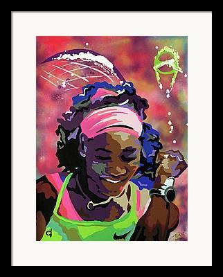 Womens Tennis Paintings Framed Prints