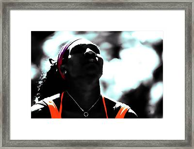 Serena Williams Deep Breath Framed Print by Brian Reaves