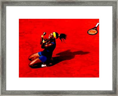 Serena Williams French Open Victory Framed Print by Brian Reaves
