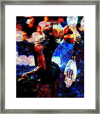 Serena Williams In The Paint Framed Print
