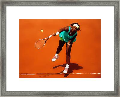 Serena Williams Match Point 2c Framed Print by Brian Reaves