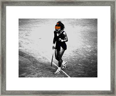 Serena Williams Match Point 3a Framed Print by Brian Reaves