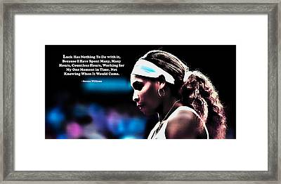 Serena Williams Motivational Quote 1b Framed Print by Brian Reaves