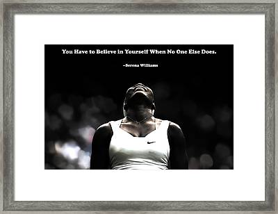 Serena Williams Quote 2a Framed Print by Brian Reaves