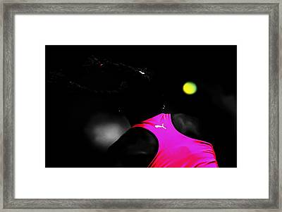 Serena Williams Return 2c Framed Print by Brian Reaves