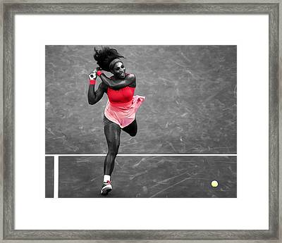Serena Williams Strong Return Framed Print by Brian Reaves
