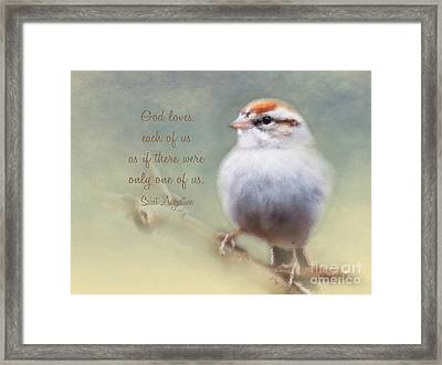 Serendipitous Sparrow - Quote Framed Print by Anita Faye