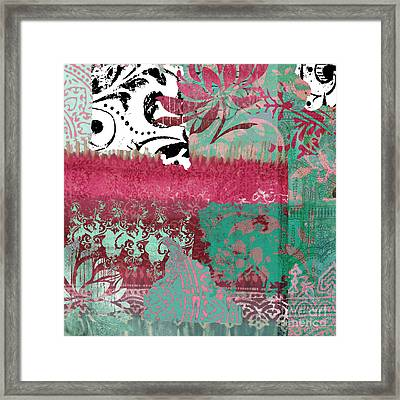 Serendipity Damask Batik I Framed Print by Mindy Sommers