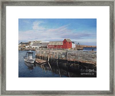 Serene Afternoon At Rockport Harbor    Framed Print