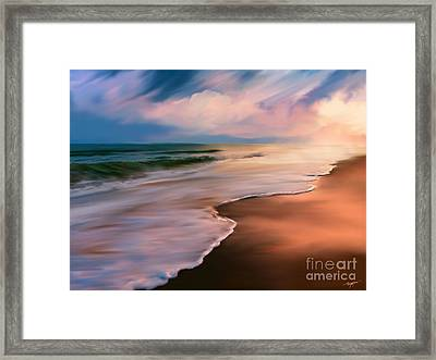 Serene Beach At Sunrise Framed Print