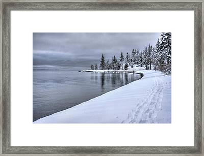 Framed Print featuring the photograph Serene Beauty Of Lake Tahoe Winter by Peter Thoeny