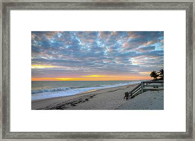 Serene Seascpe Sunrise Framed Print