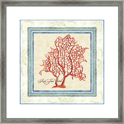 Serene Shores - Red Fan Coral Framed Print by Audrey Jeanne Roberts
