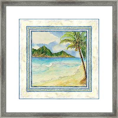 Serene Shores - Tropical Island Beach Palm Paradise Framed Print by Audrey Jeanne Roberts