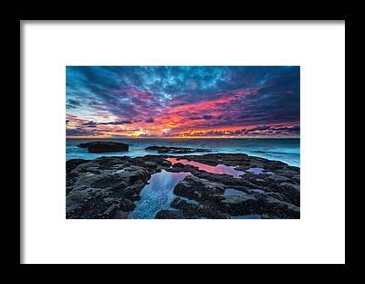 Sunset Beach Framed Prints