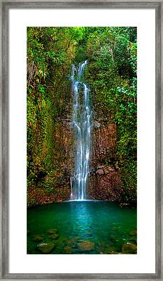 Serene Waterfall Framed Print by Monica and Michael Sweet