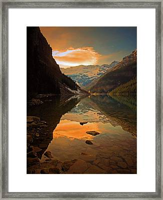 Framed Print featuring the photograph Serene Waters At Lake Louise by Tara Turner