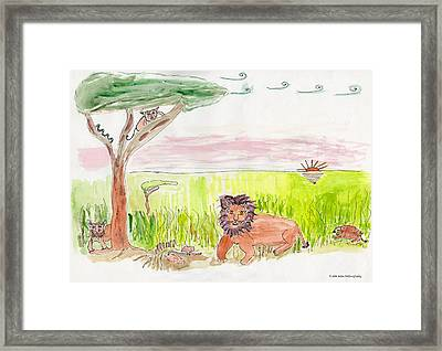 Serengeti Cats Framed Print