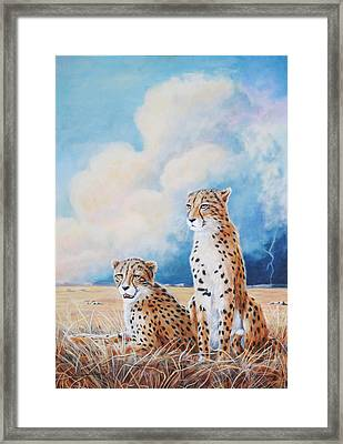 Framed Print featuring the painting Serengeti Strikes by DiDi Higginbotham