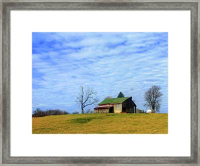Serenity Barn And Blue Skies Framed Print