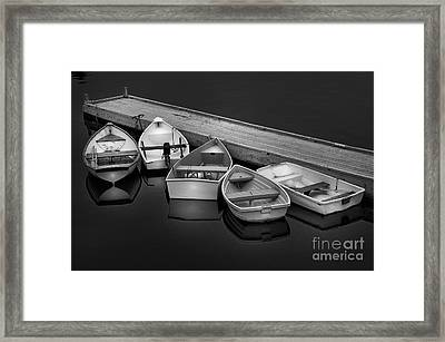 Serenity On A Maine Harbor-five Dinghy's Black And White By Thomas Schoeller  Framed Print