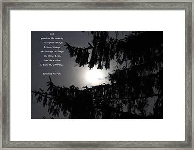Serenity Prayer Framed Print by Cliff Ball