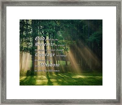 Serenity Prayer Sunrise Landscape Framed Print by Christina Rollo