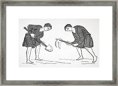Serfs Labouring In Fields With Hoe And Framed Print by Vintage Design Pics