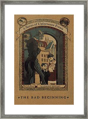 Series Of Unfortunate Events Book The First Typography Cover Using Every Word Of Text Framed Print by Design Turnpike