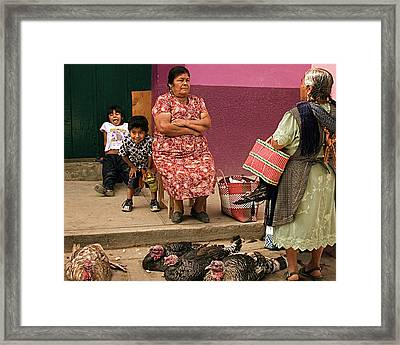 Serious Business - Mayan Family At A Mexican Market Framed Print by Mitch Spence