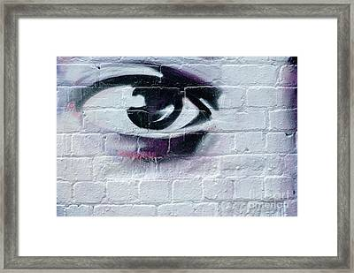 Framed Print featuring the painting Serious Graffiti Eye On The Wall by Yurix Sardinelly