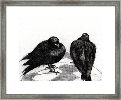 Serious Pigeon Situation Framed Print by Nancy Moniz