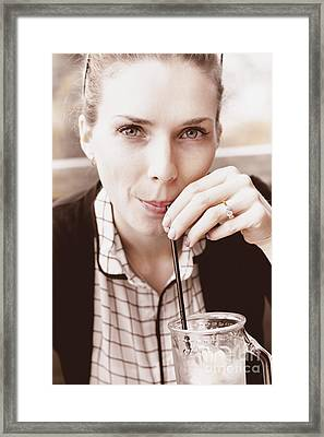 Serious Woman With Drink And Engagement Ring Framed Print by Jorgo Photography - Wall Art Gallery