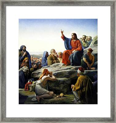 Sermon On The Mount Framed Print by Carl Bloch