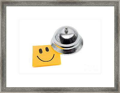 Service With A Smile On White Framed Print