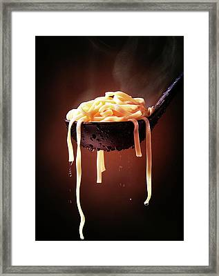 Serving Cooked Fettuccine Steaming Hot Framed Print