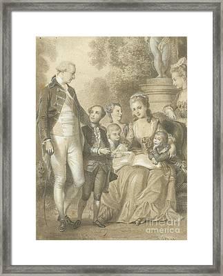 Ses Enfants Et Madame De Genlis Framed Print