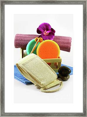 Set For Body Care Spa Objects Framed Print