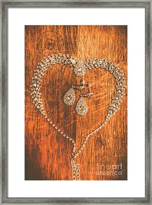 Set Of Brilliant Jewellery On Wooden Background Framed Print