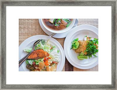 Set Of Salmon Salad Framed Print by Anek Suwannaphoom