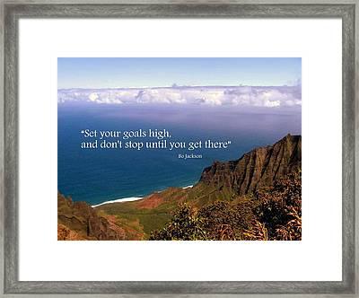 Set Your Goals High Framed Print by Donna Spadola